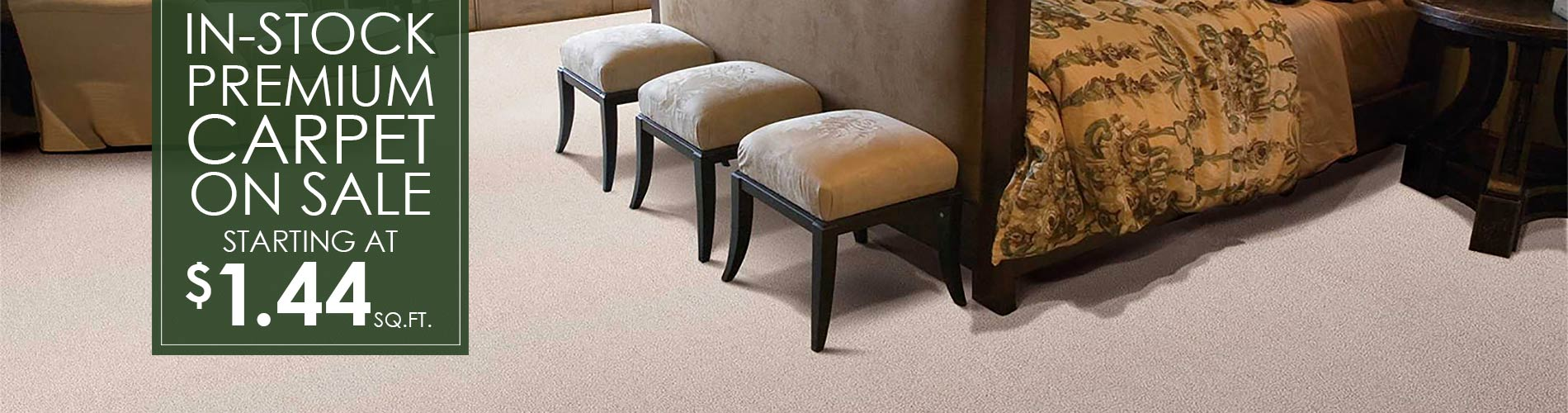 In-stock premium carpet on sale now starting at $1.44 sq.ft. this month at Bennington House of Tile & Carpet!