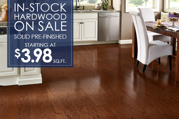 In-stock hardwood on sale!  Solid pre-finished starting at $3.98 sq.ft. this month at Bennington House of Tile & Carpet!