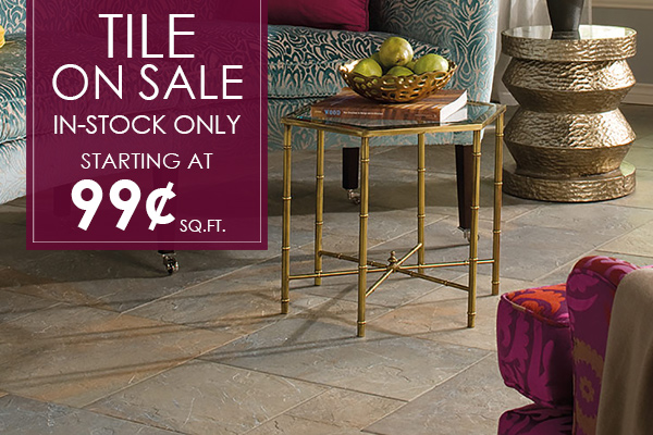 In-stock tile on sale starting at 99¢ sq.ft. this month at Bennington House of Tile & Carpet!